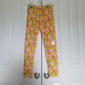 Old Navy Yellow/Pink Floral Long Stretch Leggings